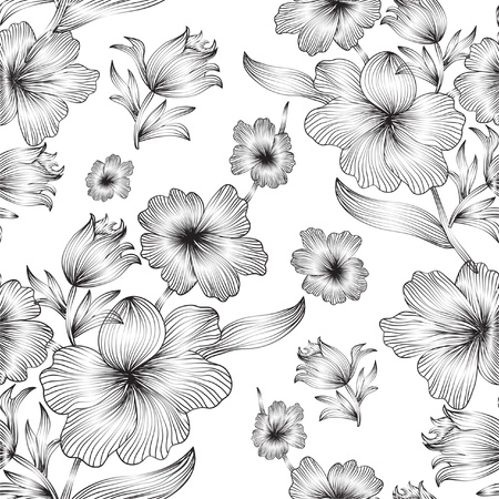 elegant seamless pattern with gray flowers for your design