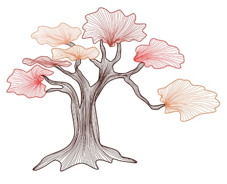 abstract bonsai tree, symbol of nature Vector
