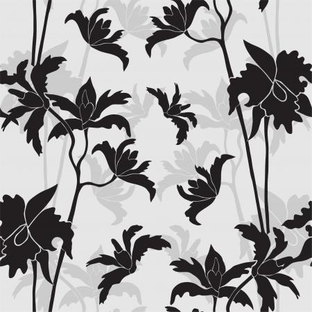 Elegáns varrat nélküli minta orchidea virágot a tervezési Illusztráció