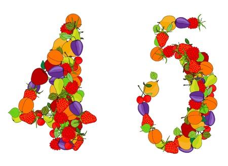 cijfer vier: nummer vier en nummer vijf gemaakt van verschillende vruchten Stock Illustratie
