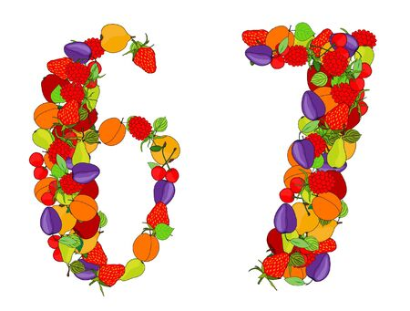 number seven: number six and number seven made from different fruits