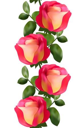 gele rozen: elegante naadloze patroon met roze gele rozen voor uw ontwerp