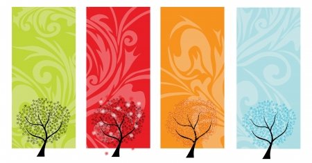 four seasons: four seasons banners with abstract trees