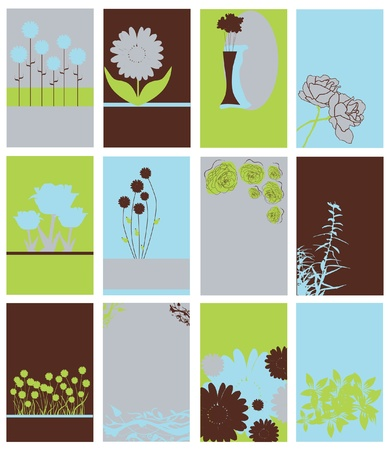 set of 12 elegant floral invitations for life events with place for text Stock Vector - 15543360