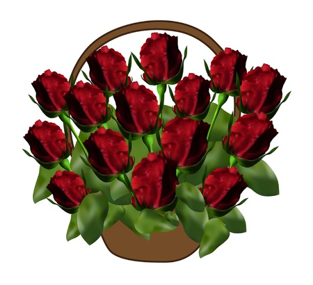 pannier: basket with elegant red roses, symbol of love