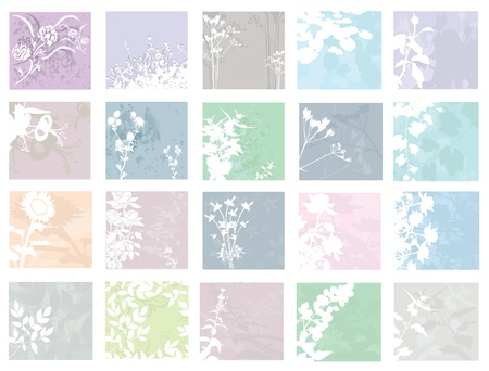 set of 20 elegant floral invitations for life events with place for text Stock Vector - 15695004