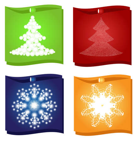 christmas and new year stickers set with trees and snowflakes Stock Vector - 16163928