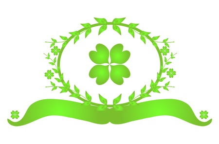 four leaf: St Patricks Day floral banner with lucky four leaf clover