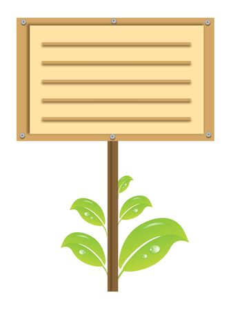 wooden signboard with green leaves Stock Vector - 16163922