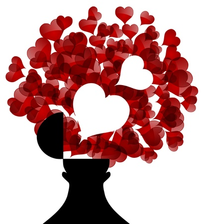 opened male head generating lots of hearts, symbol of love Vector