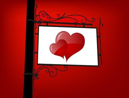 retro signboard with red hearts, symbol of love Stock Vector - 17376920