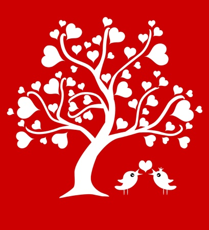 abstract love tree with two birds in love Stock Vector - 17628806