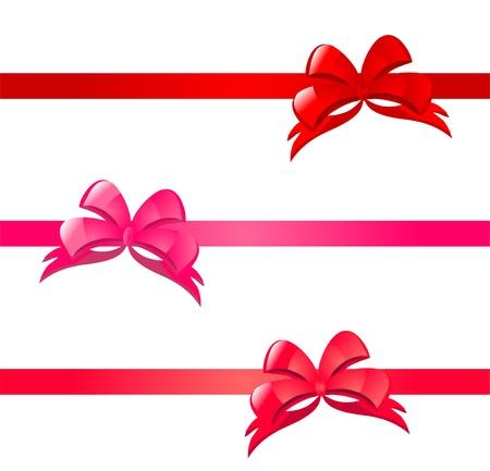 Elegáns varrat nélküli minta piros és rózsaszín íjak a tervezési