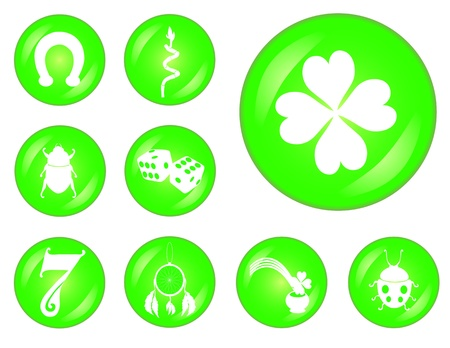 set of 9 buttons with principal symbols of luck