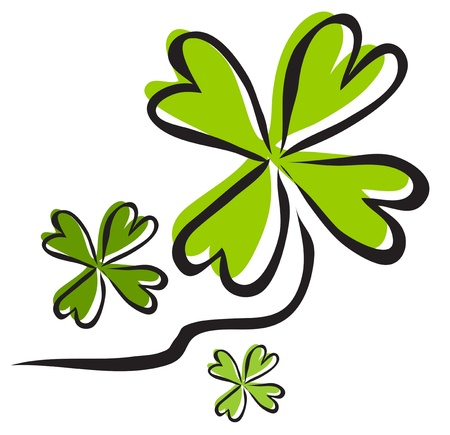 elegant hand drawn four leaf clover, symbol of luck, for your design Stock Vector - 18634245