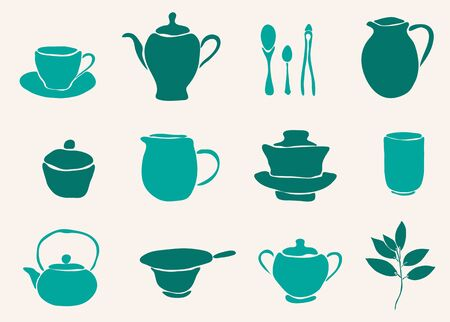 set of 12 hand drawn tea accessories for your design Stock Vector - 18710989