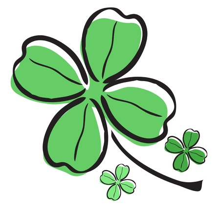 elegant hand drawn four leaf clover, symbol of luck Stock Vector - 19006436