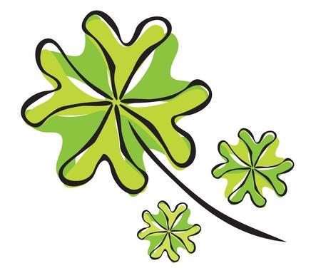 four leaf: elegant hand drawn four leaf clover, symbol of luck