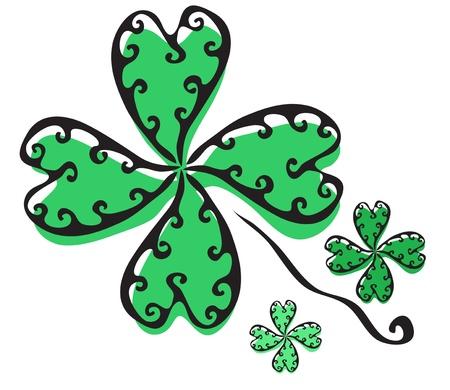 elegant hand drawn four leaf clover for your design Stock Vector - 19006442