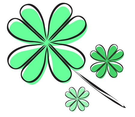 elegant hand drawn four leaf clover, symbol of luck Stock Vector - 19006437