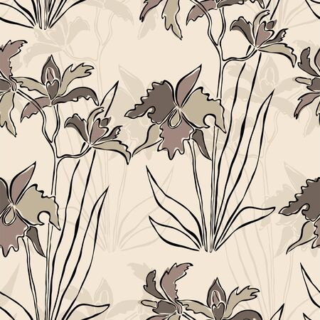 elegant seamless pattern with abstract orchid flowers for your design Vector