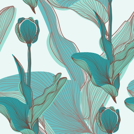 tile pattern: elegant seamless pattern with abstract tulip flowers for your design