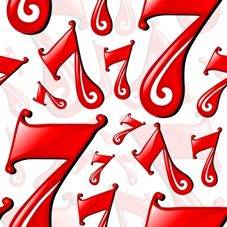 elegant seamless pattern with lucky number seven for your design Vector