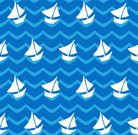 elegant seamless pattern with abstract waves and ships for your design Vector