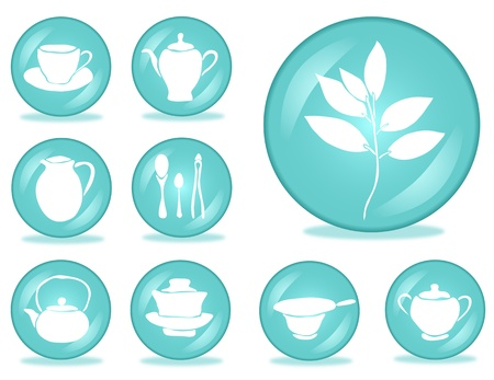set of 9 tea accessories buttons for your design Stock Vector - 19006846