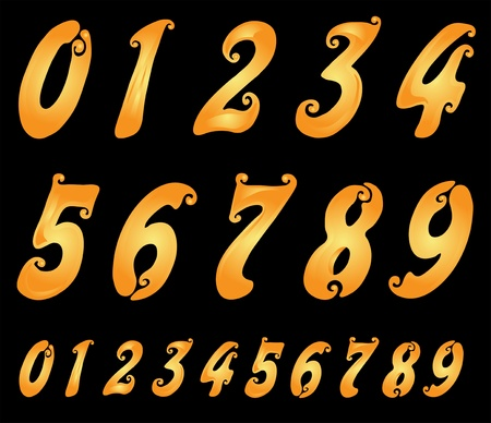 7 8: hand drawn set of golden numbers for your design