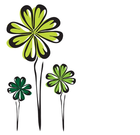 four leaf: cuatro de hoja de tr?l  Vectores