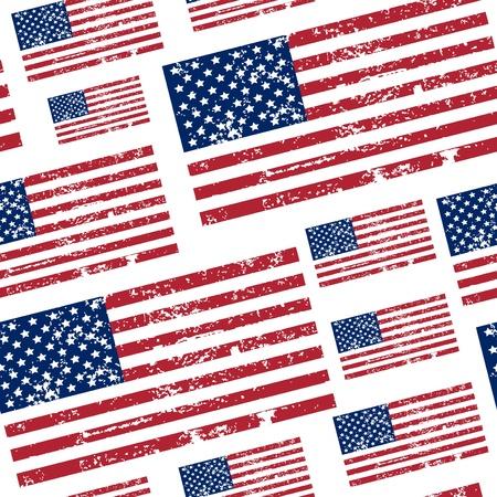 us flag grunge: seamless pattern with USA flag Illustration
