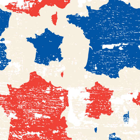 republique: seamless pattern with French republic map Illustration