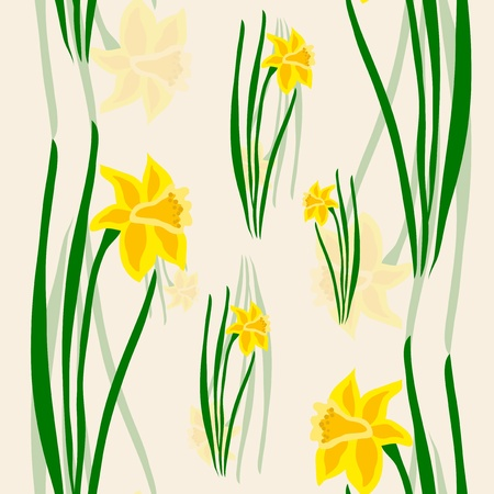 seamless pattern with yellow daffodils Vector