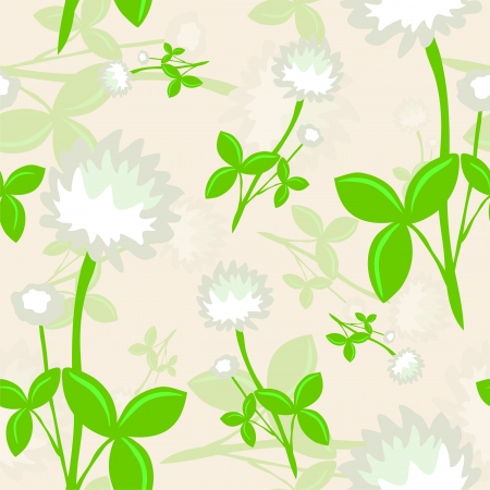 seamless pattern with white clovers Vector