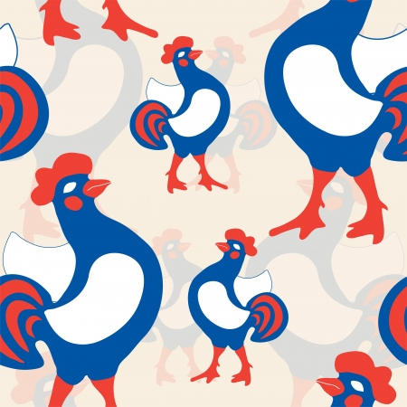 seamless pattern with gallic roosters