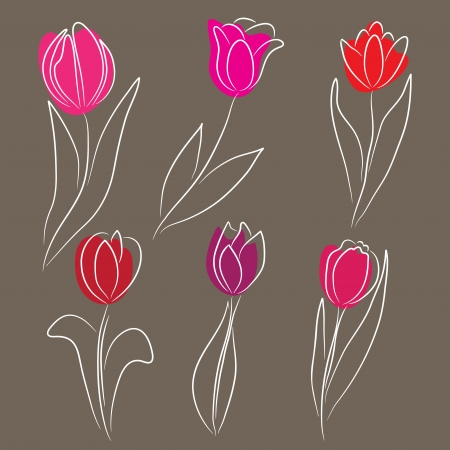 set of 6 hand drawn decorative tulips, design elements Vector