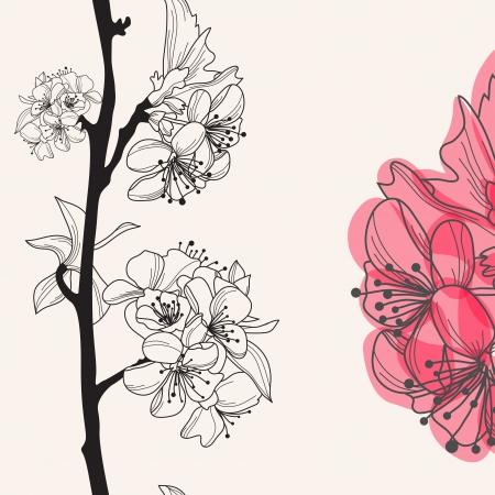 dekoratív, kézzel rajzolt cseresznyevirág, varrat nélküli minta