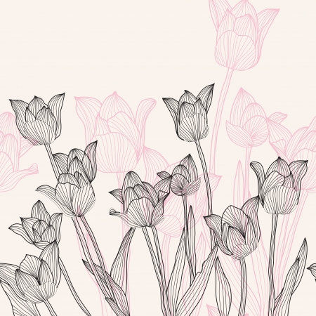 hand drawn decorative tulips, seamless pattern