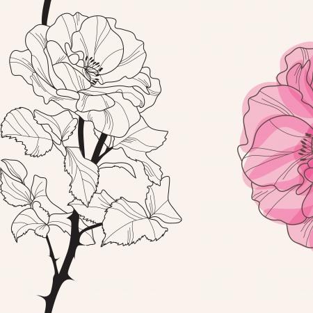 silhouette fleur: invitation florale élégante avec dessinés à la main décoratif rose