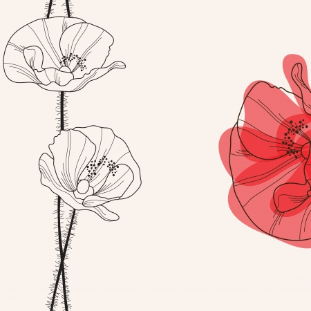 art deco background: elegant floral invitation with hand drawn decorative poppies Illustration