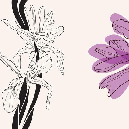 elegant floral invitation with hand drawn decorative iris Vector
