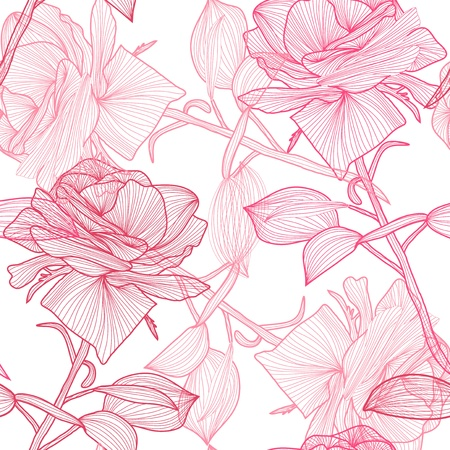 elegant seamless pattern with hand drawn pink roses for your design Vector