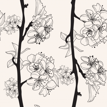 elegant seamless pattern with hand drawn cherry blossom for your design