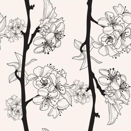 cerisier fleur: ?l?gant motif transparente avec dessin?s ? la main fleurs de cerisier pour votre conception Illustration