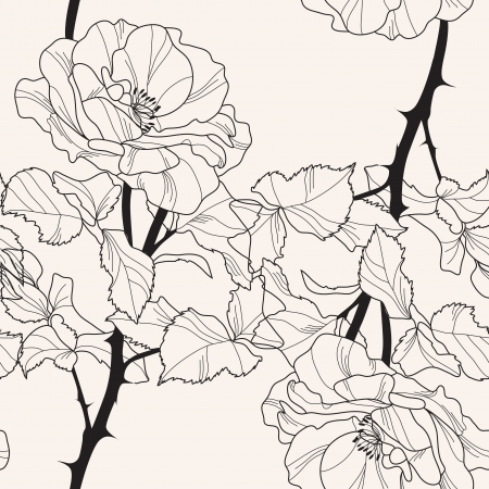 elegant seamless pattern with hand drawn rose flowers for your design Vector