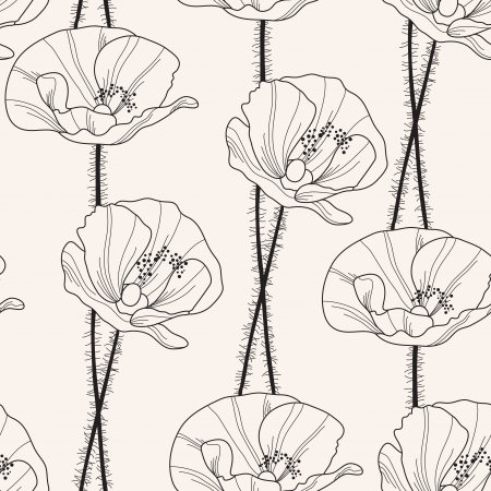 elegant seamless pattern with hand drawn poppy flowers for your design Vettoriali