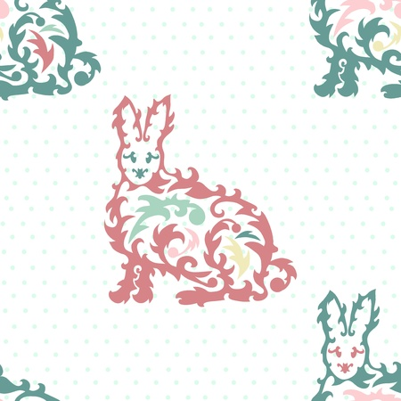seamless pattern with decorative rabbits Vector