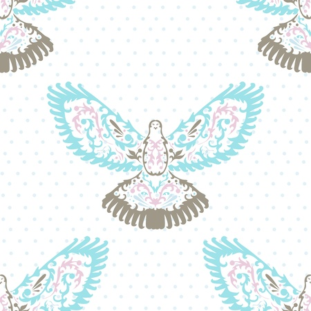 elegant seamless pattern with decorative doves for your design Stock Vector - 20692715