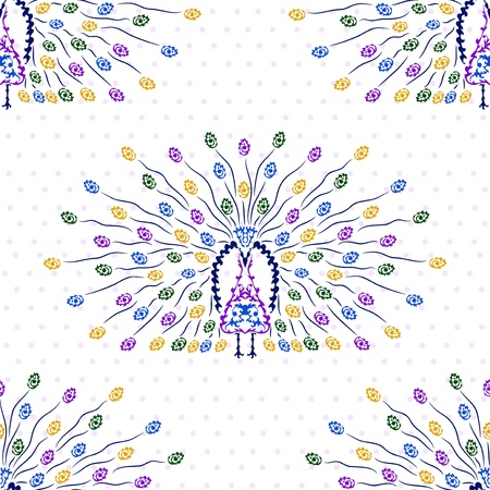 elegant seamless pattern with decorative peacocks for your design Vector